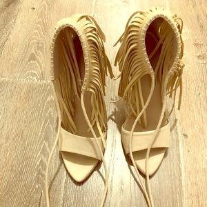 Womens suede fringe heels